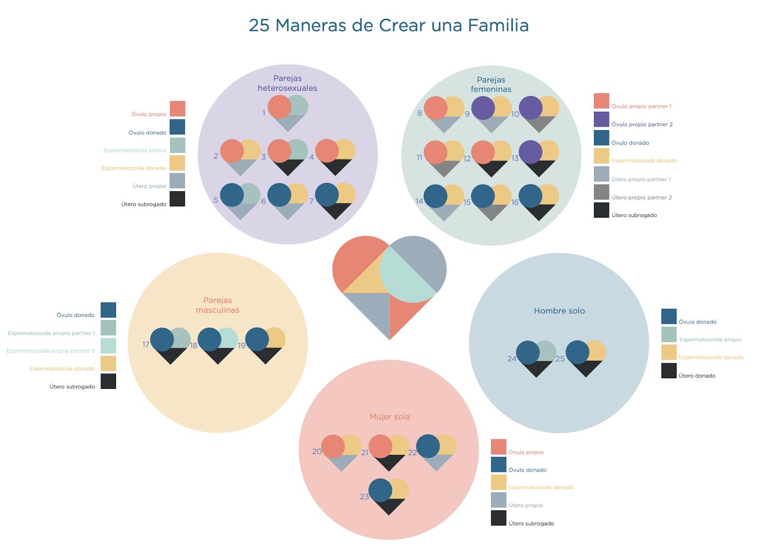 Infografía mostrando las 25 maneras de concebir